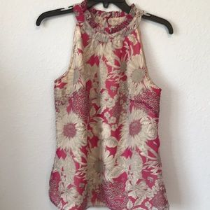 Floral shear lined sleeveless blouse